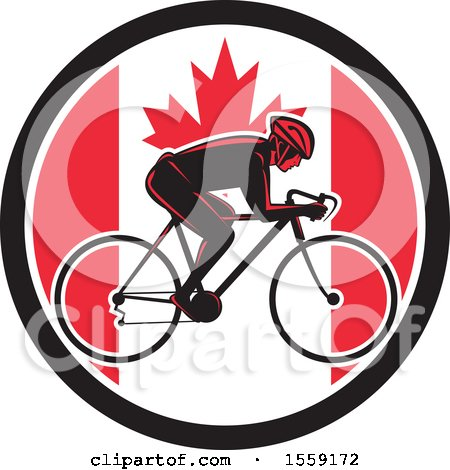Clipart of a Retro Male Cyclist in a Canadian Flag Circle - Royalty Free Vector Illustration by patrimonio