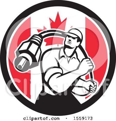 Clipart of a Retro Male Cable Guy with a Coaxial Cable in a Canadian Flag Circle - Royalty Free Vector Illustration by patrimonio