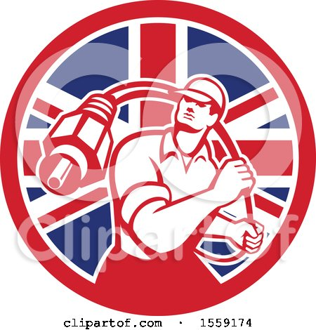 Clipart of a Retro Male Cable Guy with a Coaxial Cable in a British Flag Circle - Royalty Free Vector Illustration by patrimonio