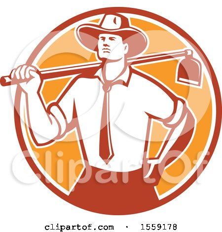 Clipart of a Retro Urban Farmer Wearing a Neck Tie and Holding a Hoe over His Shoulder - Royalty Free Vector Illustration by patrimonio