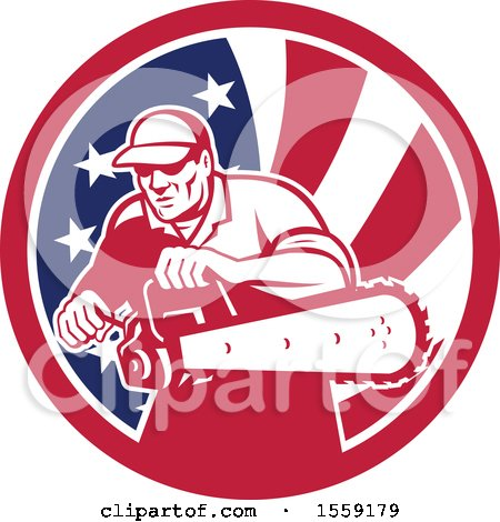 Clipart of a Retro Male Arborist Starting up a Chainsaw in an American Flag Circle - Royalty Free Vector Illustration by patrimonio
