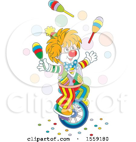 Clipart of a Cartoon Clown Juggling and Riding a Unicycle - Royalty Free Vector Illustration by Alex Bannykh