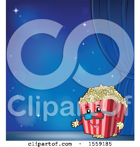 Popcorn Bucket Mascot on a Stage over Blue Posters, Art Prints