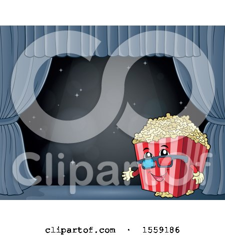 Popcorn Bucket Mascot on a Stage Posters, Art Prints