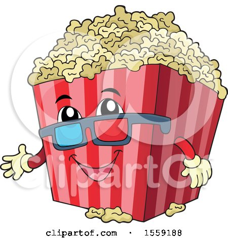 Clipart of a Popcorn Bucket Mascot - Royalty Free Vector Illustration by visekart