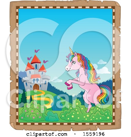 Clipart of a Unicorn and Castle - Royalty Free Vector Illustration by visekart