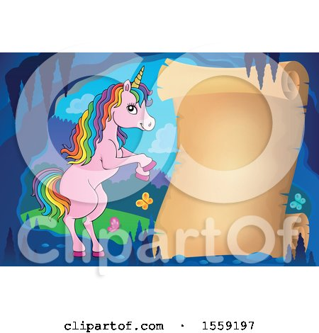 Clipart of a Unicorn and Parchment Scroll - Royalty Free Vector Illustration by visekart