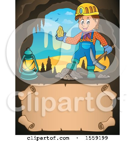 Clipart of a Miner Holding Ore in a Cave, over Parchment - Royalty Free Vector Illustration by visekart