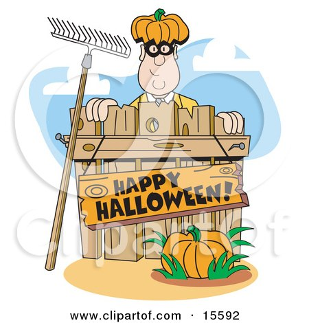 "Man Wearing A Pumpkin Hat And Peeking Out From Behind A Wooden Fence With A Rake Leaning Against It, A Pumpkin In The Foreground And A Sign Reading ""Happy Halloween!"" Clipart Illustration by Andy Nortnik"
