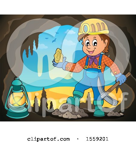 Clipart of a Miner Holding Ore in a Cave - Royalty Free Vector Illustration by visekart