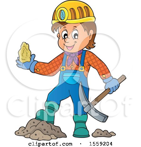 Clipart of a Miner Holding Ore - Royalty Free Vector Illustration by visekart