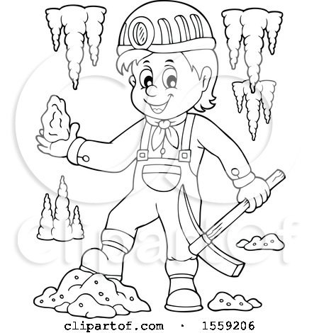 Clipart of a Lineart Miner Holding Ore - Royalty Free Vector Illustration by visekart