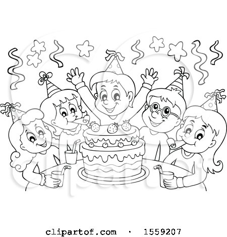 Clipart Of A Lineart Group Children Celebrating At Birthday Party