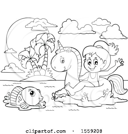 Clipart of a Lineart Girl on a Unicorn Swim Float - Royalty Free Vector Illustration by visekart