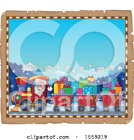 Clipart of a Parchment Page with Santa Driving a Train - Royalty Free Vector Illustration by visekart