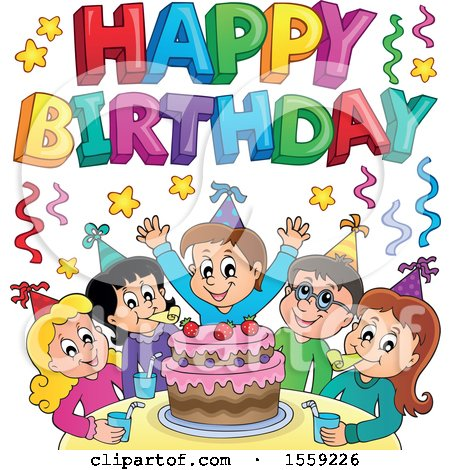 Clipart of a Happy Birthday Greeting over a Group of Children Celebrating at a Party - Royalty Free Vector Illustration by visekart