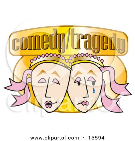 Two Face Masks, One Laughing And One Crying On A Comedy/tragedy Sign Clipart Illustration by Andy Nortnik