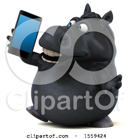 Clipart of a 3d Chubby Black Horse Talking on a Smart Phone, on a White Background - Royalty Free Illustration by Julos