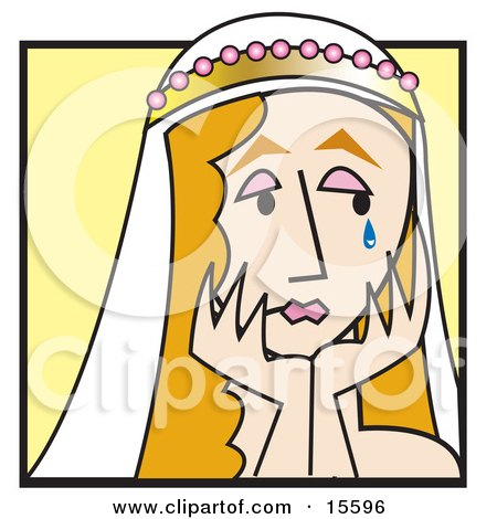 Sad Bride Crying And Resting Her Chin On Her Hands Clipart Illustration