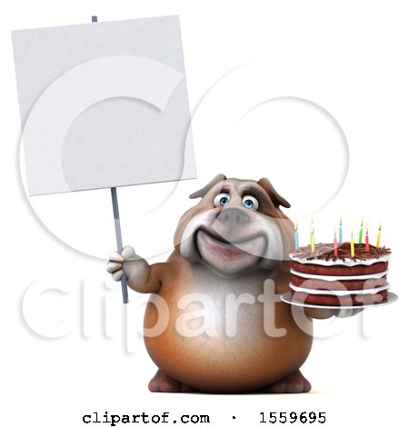 Clipart of a 3d Bulldog Holding a Birthday Cake, on a White Background - Royalty Free Illustration by Julos