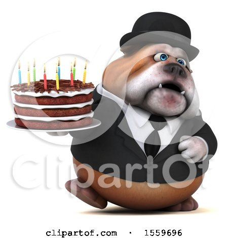 Clipart of a 3d Gentleman or Business Bulldog Holding a Birthday Cake, on a White Background - Royalty Free Illustration by Julos