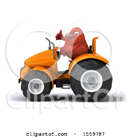 Clipart of a 3d Red Bird Operating a Tractor, on a White Background - Royalty Free Illustration by Julos