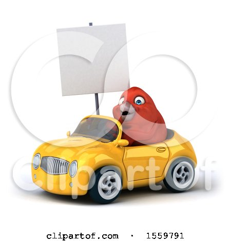 Clipart of a 3d Red Bird Driving a Convertible, on a White Background - Royalty Free Illustration by Julos