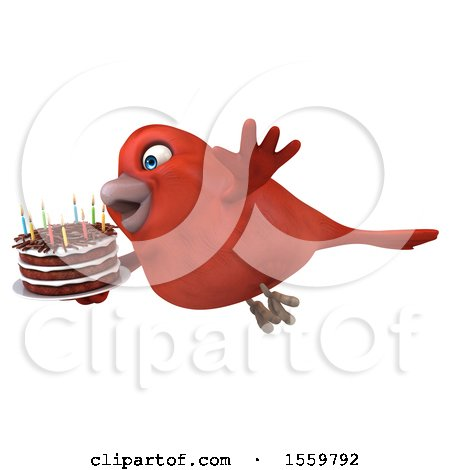 Clipart of a 3d Red Bird Holding a Birthday Cake, on a White Background - Royalty Free Illustration by Julos