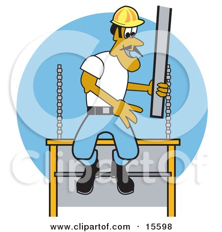 Male Construction Worker Laying Concrete Slabs And Wearing A Hardhat Clipart Illustration by Andy Nortnik