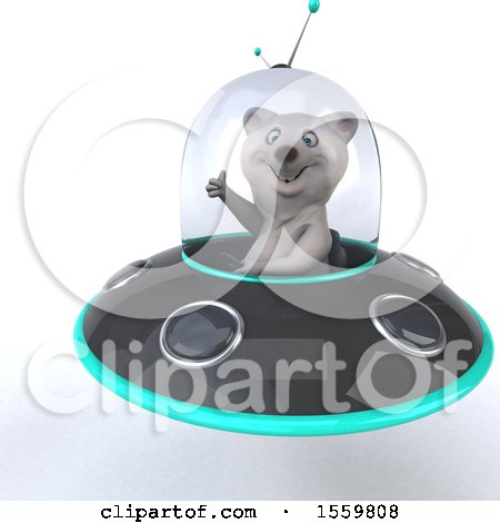 Clipart of a 3d Polar Bear Flying a Ufo, on a White Background - Royalty Free Illustration by Julos