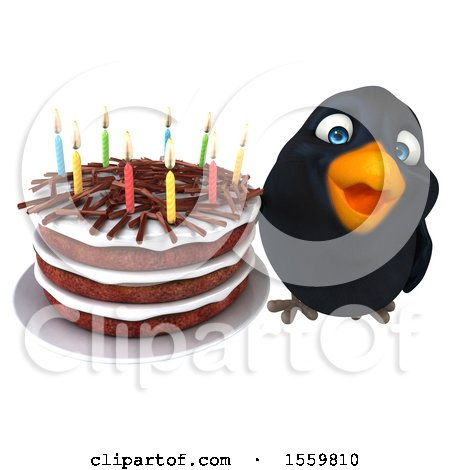 Clipart of a 3d Black Bird Holding a Birthday Cake, on a White Background - Royalty Free Illustration by Julos