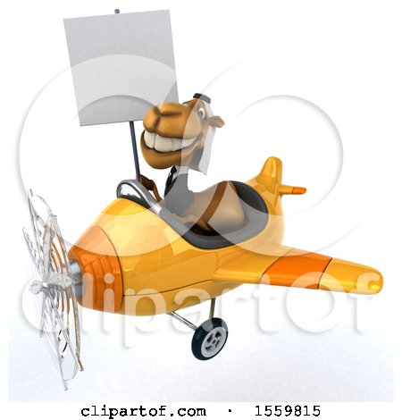 Clipart of a 3d Arabian Business Camel Flying a Plane, on a White Background - Royalty Free Illustration by Julos