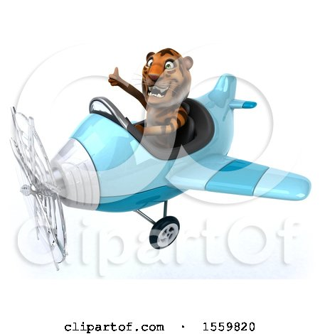 Clipart of a 3d Tiger Flying a Plane, on a White Background - Royalty Free Illustration by Julos