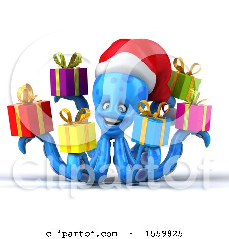 Clipart of a 3d Blue Christmas Octopus Holding Gifts, on a White Background - Royalty Free Illustration by Julos