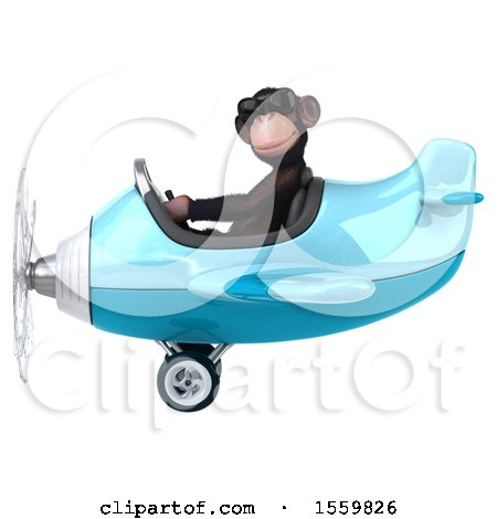 Clipart of a 3d Chimpanzee Monkey Aviator Pilot Flying an Airplane, on a White Background - Royalty Free Illustration by Julos
