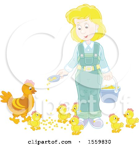 Blond Caucasian Female Farmer Feeding Chickens Posters, Art Prints