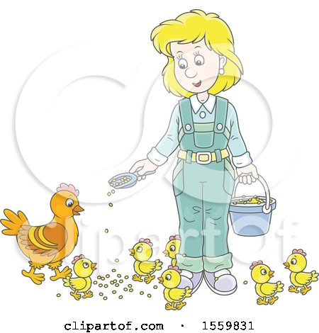 Clipart of a Blond White Female Farmer Feeding Chickens - Royalty Free Vector Illustration by Alex Bannykh