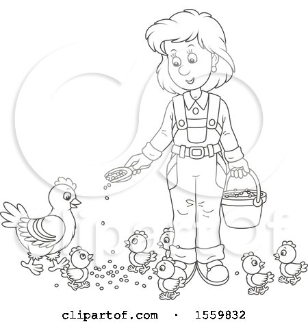 Lineart Female Farmer Feeding Chickens Posters, Art Prints