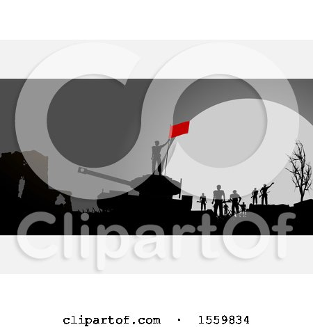 Silhouetted Group of Soldiers and Tank on a Battle Field Against a Full Moon, with White Panels Posters, Art Prints