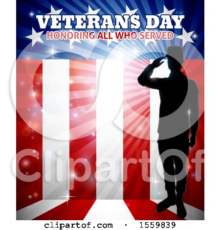 Clipart of a Silhouetted Full Length Male Military Veteran Saluting over an American Flag and Text - Royalty Free Vector Illustration by AtStockIllustration
