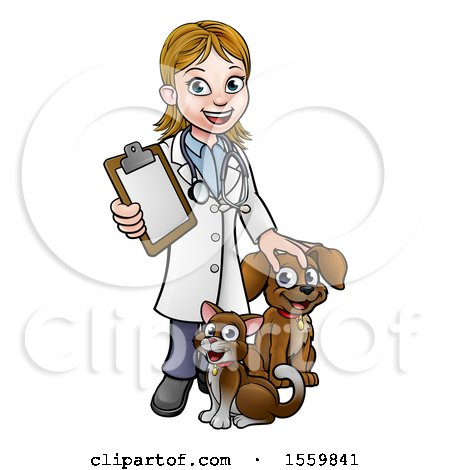 Clipart of a White Female Veterinarian Holding a Clipboard and Standing with a Cat and Dog - Royalty Free Vector Illustration by AtStockIllustration