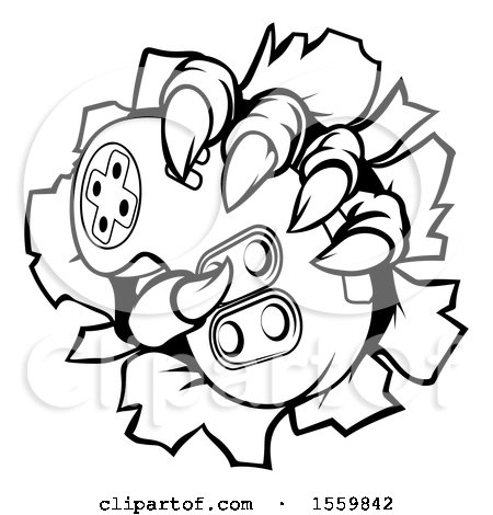 Clipart of a Black and White Monster Claw Breaking Through a Wall and Holding a Video Game Controller - Royalty Free Vector Illustration by AtStockIllustration