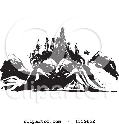 Clipart of a Mountain and Two Sleeping Giants - Royalty Free Vector Illustration by xunantunich