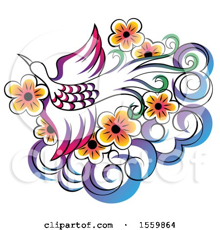 Clipart of a Stunning Phoenix Flying over Flowers and a Cloud - Royalty Free Vector Illustration by Cherie Reve