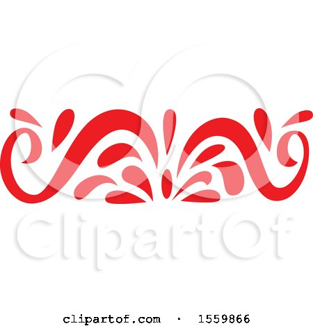 Clipart of a Red Oriental Styled Floral Design Element - Royalty Free Vector Illustration by Cherie Reve
