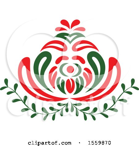 Clipart of a Red and Green Blooming Flower and Leaves - Royalty Free Vector Illustration by Cherie Reve