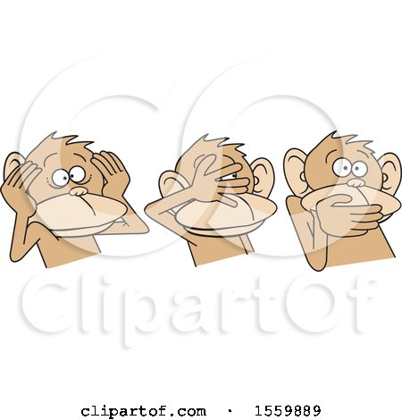 Clipart of Hear No Evil See No Evil Speak No Evil Monkeys - Royalty Free Vector Illustration by Johnny Sajem