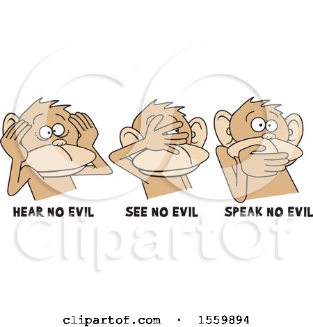 Clipart of Hear No Evil See No Evil Speak No Evil Monkeys with Text - Royalty Free Vector Illustration by Johnny Sajem