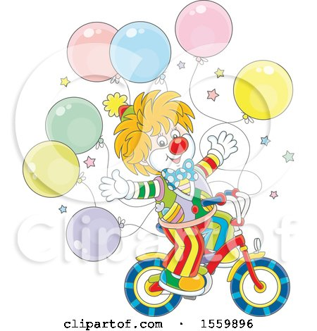 Clipart of a Cute Clown Riding a Bicycle, with Party Balloons - Royalty Free Vector Illustration by Alex Bannykh