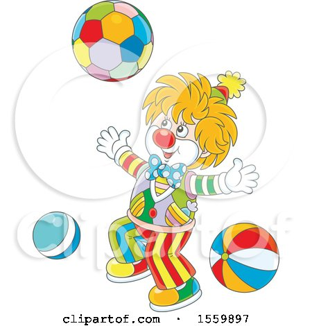 Clipart of a Cute Clown Playing with a Ball - Royalty Free Vector Illustration by Alex Bannykh